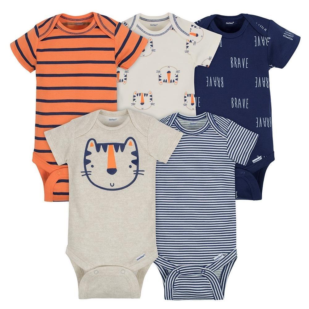 Gerber Baby Boy Girl Unisex 4 Short /& 3 Long Sleeve Onesies White 12 Month