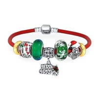 Merry Christmas Holiday Santa Clause Naughty Nice Theme Bead Charm Bracelet Genuine Leather For Women Sterling Silver