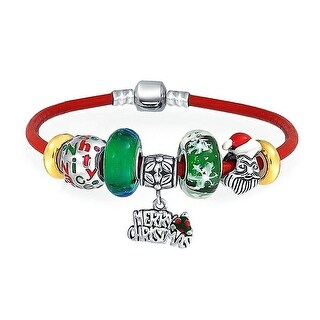 Bling Jewelry 925 Sterling Silver Red Leather Santa Enamel Glass Charm Bracelet