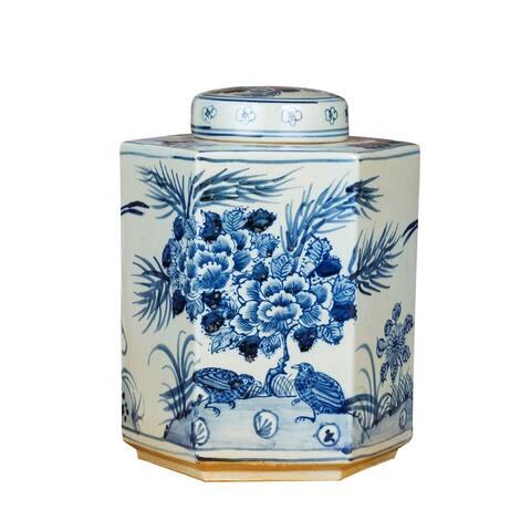 Handmade Flower Bird Hexagonal Tea Decorative Jar
