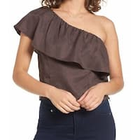 ASTR NEW Gray Womens Size Large L One-Shoulder Ruffled Solid Blouse