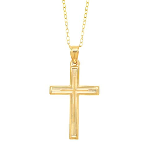 Ribbed Cross Pendant in 10K Gold on Gold-Filled Chain - Yellow