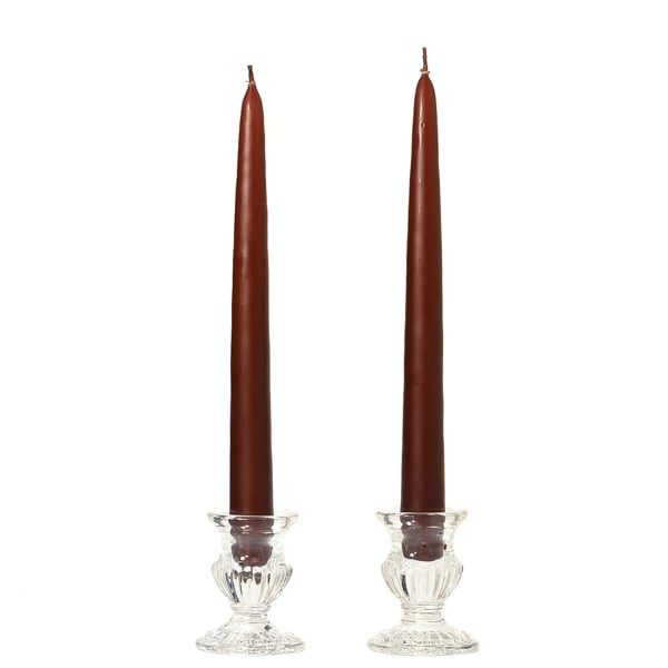 1 Pair Taper Candles Unscented 15 Inch Brown Tapers .88 in. diameter x 15 in. tall
