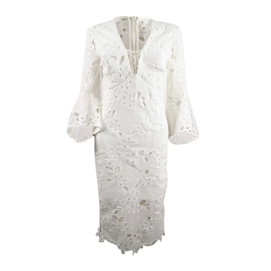 Bardot Womens Lace Bell-Sleeve Dress - Ivory