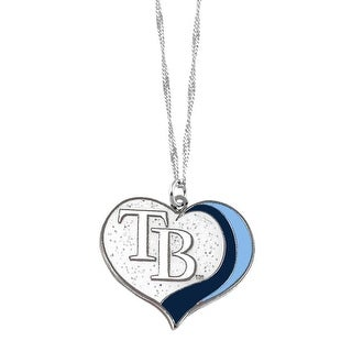 Tampa Bay Rays Mlb Sports Team Logo Charm Gift Glitter Heart Necklace