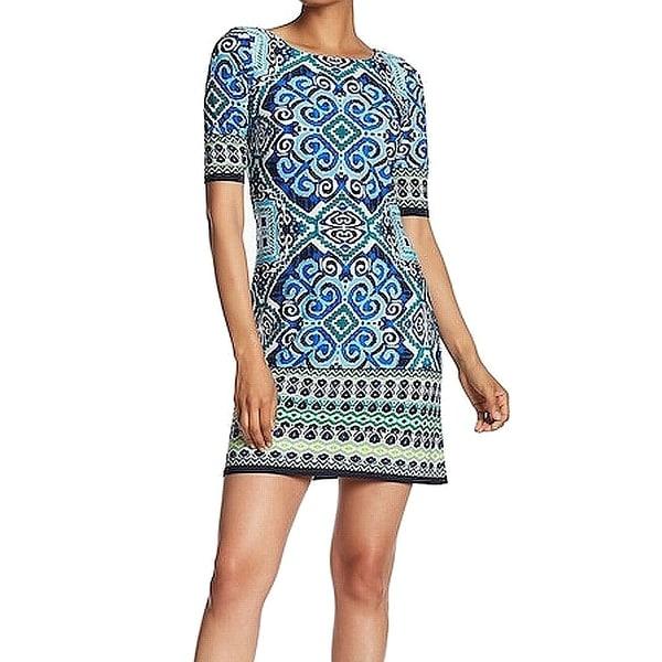 Eliza J Women's Tile-Print Stretch Sheath Dress