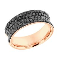 Prism Jewel 1.34Ct Round Cut Balck Diamond Wedding Band - Black