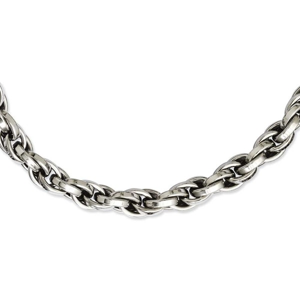 Stainless Steel Polished Oval Link 24in Necklace (10 mm) - 24 in