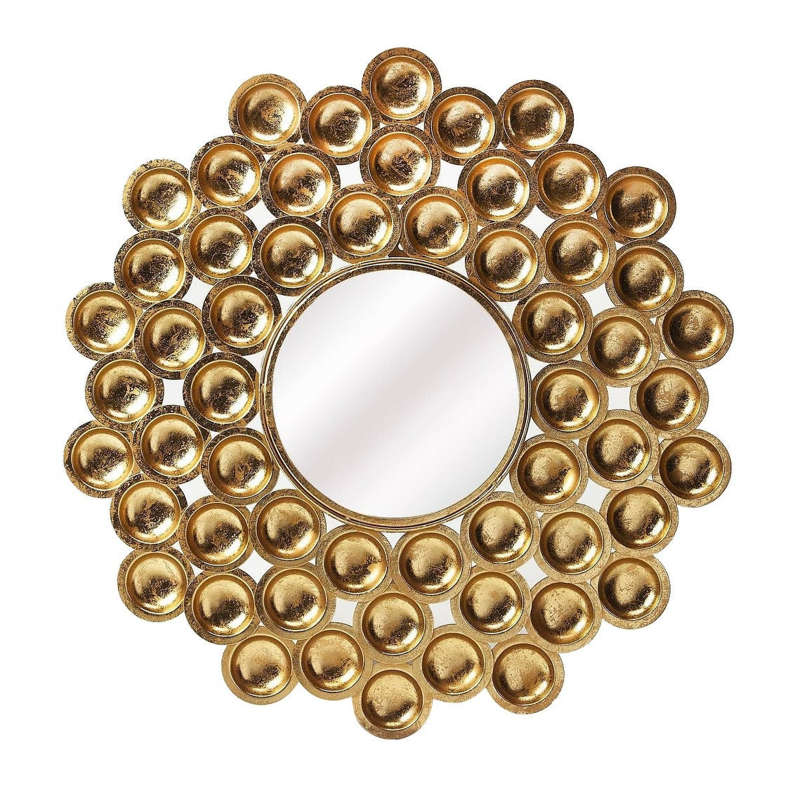 Shop Offex Modern Distressed Round Metal Wall Mirror Antique Gold Overstock 28386603