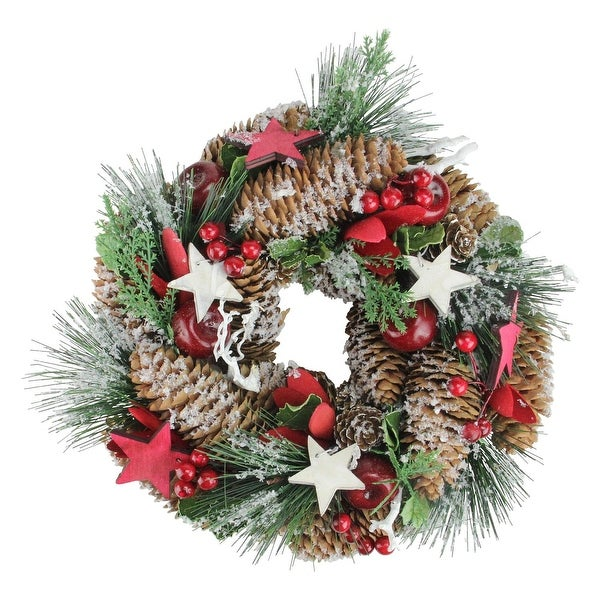 "10"" Stars, Berries and Pine Cones Decorative Pine Christmas Wreath - Unlit - brown"