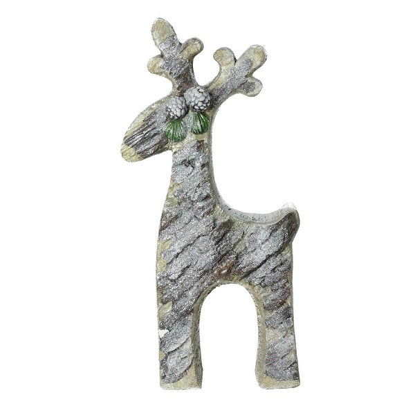 "22"" Gray Rustic Glittered Christmas Reindeer Table Top Decoration"