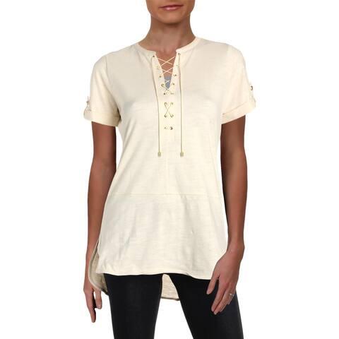Lauren Ralph Lauren Womens T-Shirt Rolled Sleeves Lace-up