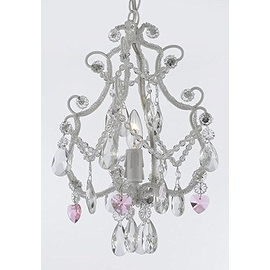 Wrought Iron & Crystal 1 Light Chandelier Pendant White with Pink Crystal Hearts Perfect for Kid's Rooms ! Hardwire and Plug In
