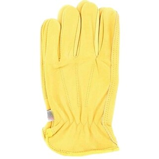 HDX Gloves Mens Work Leather Comfort Pad Palm Yellow