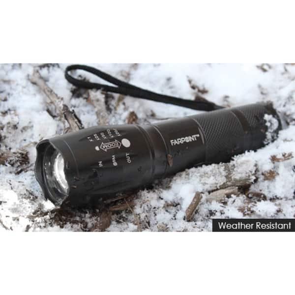 Far Point Tactical LED Flashlight 350 Lumens Slide to Focus 3 Beam Settings Gray