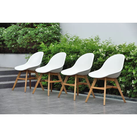 Amazonia Deluxe Hawaii 4 Piece Wood White Patio Dining Chairs