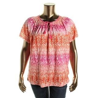 Lauren Ralph Lauren Womens Plus Pullover Top Printed Smocked