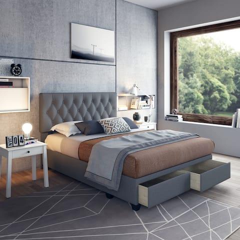 Sleep Sync Sorvino Linen Upholstered Tufted Platform Storage Bed Frame