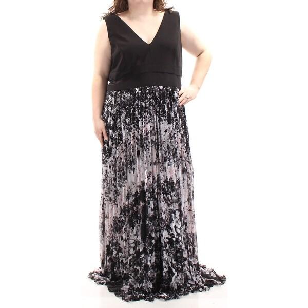 Shop Xscape Womens Black Floral Sleeveless V Neck Full Length Shift