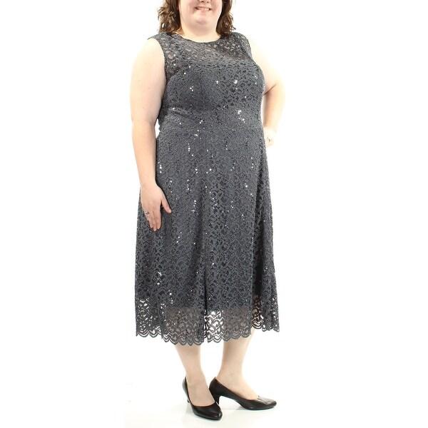 BETSY & ADAM Womens Navy Lace Sequined Sleeveless Jewel Neck Midi Sheath Formal Dress Plus Size: 20