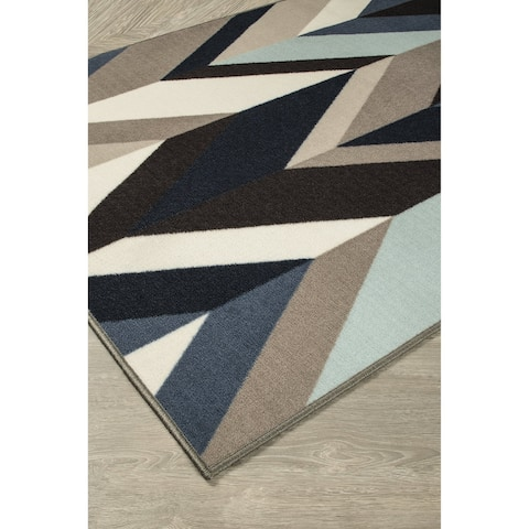 Keelia Blue/Brown/Gray Geometric Contemporary Rug - 4' x 7'