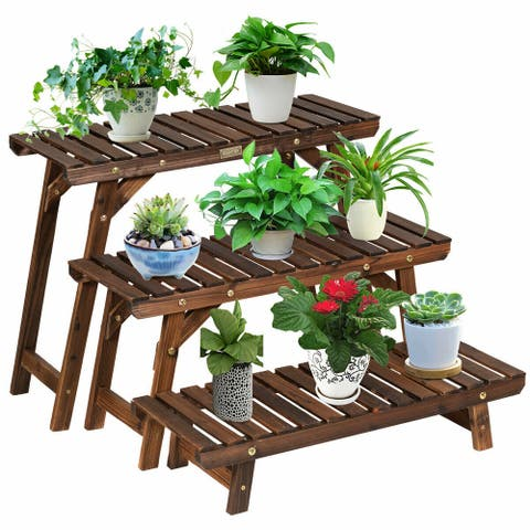 Gymax 3 Tier Step Design Plant Shelf Rack Freestanding Ladder Flower - 32'' x 10'' x 30'' (L x W x H)