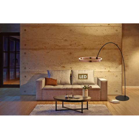 Ring of Light Unique Geometric 60w 2-light LED Arched Floor Lamp - 82