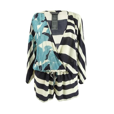 Vince Camuto Women's Palm Shadow Printed Romper Swim Cover-Up - Black