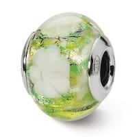 Italian Sterling Silver Reflections Green/White Flower Bead (4mm Diameter Hole)