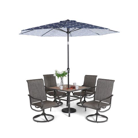 "Sophia & William Patio Dining Set 6 Pieces with 9 ft Umbrella, 1x Square 37""x 37"" Dining Table, 4 Swivel Chairs Furniture Set"