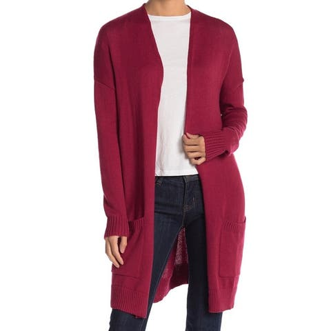 ABOUND Rumba Women's Open Front Long Knit Collarless Cardigan