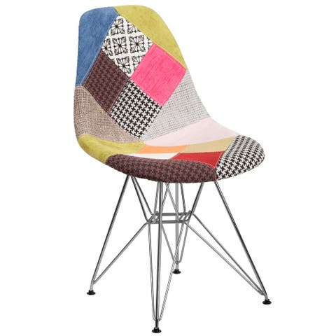 Upholstered Patchwork Fabric Accent Side Chair with Chrome Base