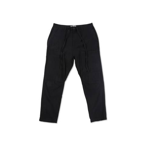 LRG Mens Seersucker Casual Jogger Pants, Black, 30W x 28L