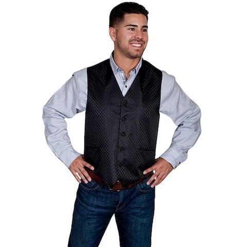 Scully Western Vest Mens Manly Quality Diamond Pattern Button - Black