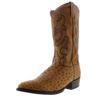 Dan Post Mens Tempe Ostrich Leather Embroidered Cowboy, Western Boots - 9 extra wide (e+, ww)