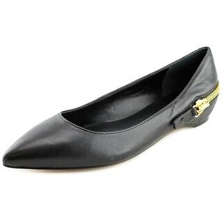 Ivanka Trump Cherry Women Round Toe Leather Black Ballet Flats
