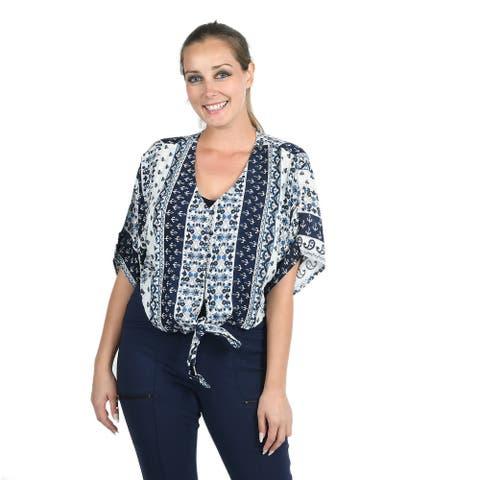 JOVIE Blue Paisley Tie Front Short Sleeve V Neck Button Blouse-2X - 2X