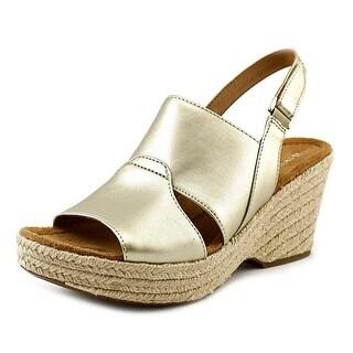 Naturalizer Olivia Women Open Toe Synthetic Gold Wedge Heel