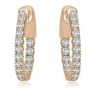 1.02 cttw. 14K Rose Gold Round Cut Diamond Hoop Earrings