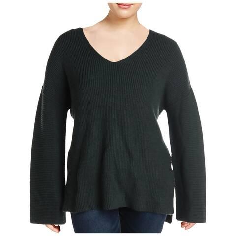 VELVET BY GRAHAM & SPENCER Womens V-Neck Sweater Wool Blend Pullover - Olive - XL
