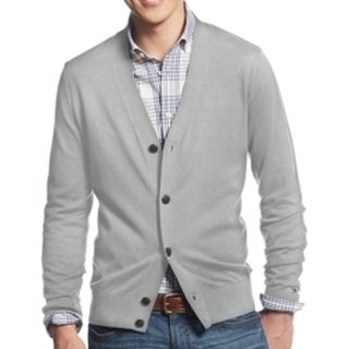 Tommy Hilfiger NEW Heather Gray Mens Size XL Cardigan Cotton Sweater