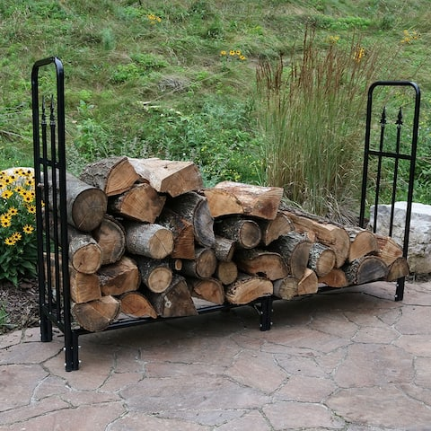Sunnydaze Black Outdoor Decorative Steel Firewood Storage Log Rack - 6-Foot