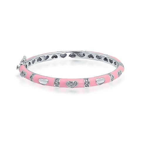 Bling Jewelry Baby Girl Bangle Bracelet Pink Enamel CZ Hearts Silver Plated