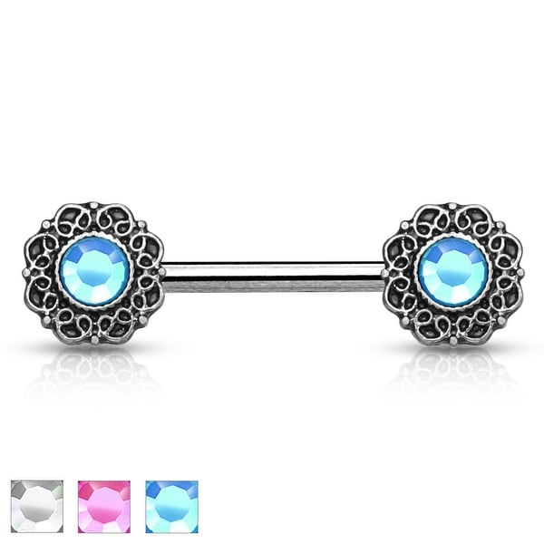 Crystal Center Tribal Heart Filigree Ends Surgical Steel Nipple Barbell - 14GA (Sold Ind.)