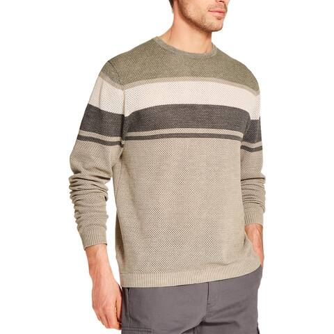 Weatherproof Vintage Mens Crewneck Sweater Striped Stonewash