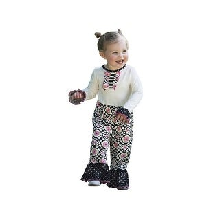 AnnLoren Baby Girls Black Stripe Polka Dot Floral Print Knit Romper