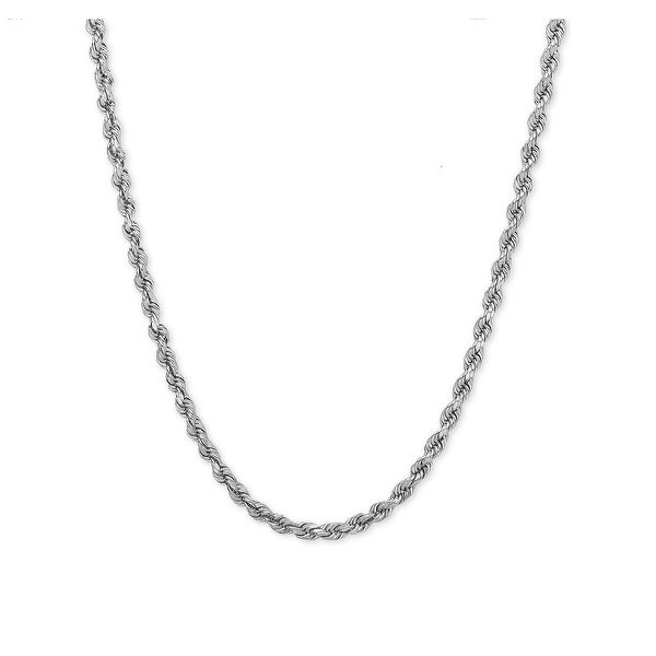 Mcs Jewelry Inc Sterling Silver White 925 Diamond Cut Rope Chain Necklace (1.8mm)