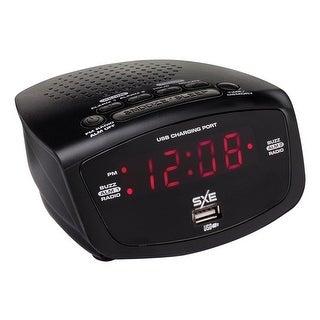 Sxe sxe86001x led clock radio with 1-amp usb