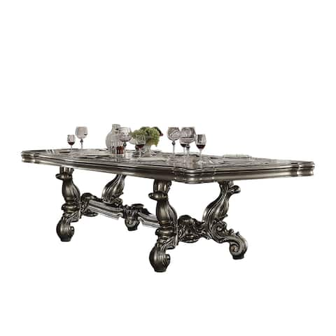 Traditional Style Dining Table with Scrolled Legs and Trestle Base, Silver