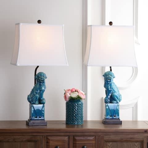 "SAFAVIEH Lighting 28-inch Blue Foo Dog Table Lamp (Set of 2) - 14""x9""x28.5"""